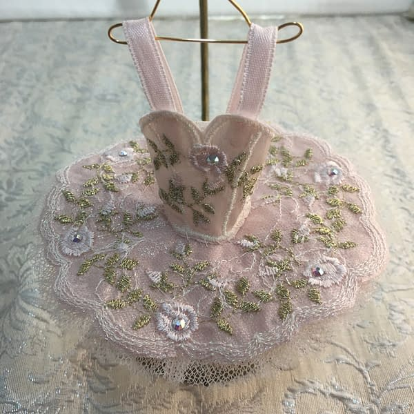 gold and pink embroidered roses mini tutu